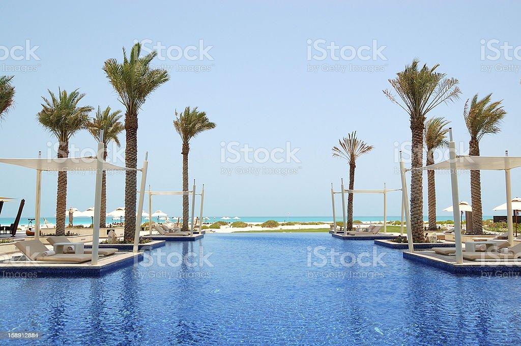 Swimming pool of luxury hotel, Saadiyat island, Abu Dhabi, UAE stock photo