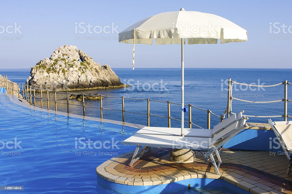 Swimming pool on the seaside royalty-free stock photo
