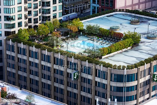 Swimming Pool On Top Of A Parking Garage Downtown Chicago