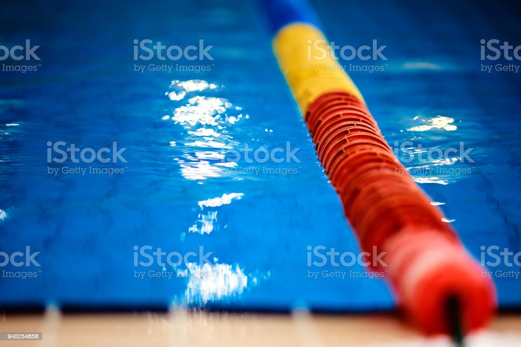 water sport concept, swimming pool with swimming lane marker.