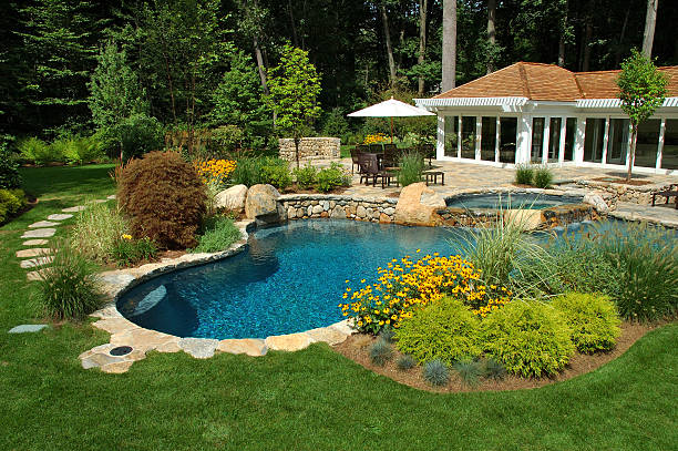 Swimming Pool  backyard pool stock pictures, royalty-free photos & images