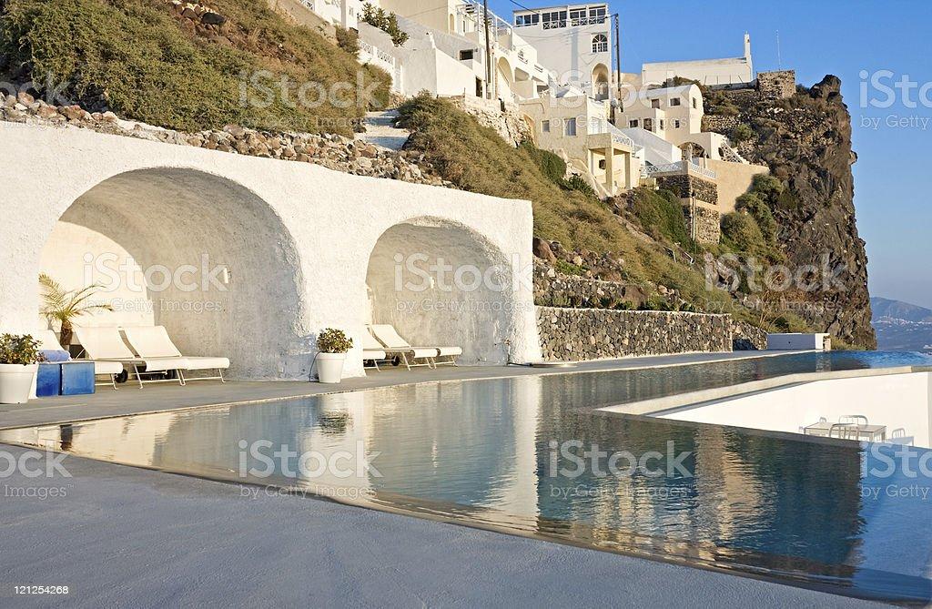 Swimming pool, Santorini royalty-free stock photo