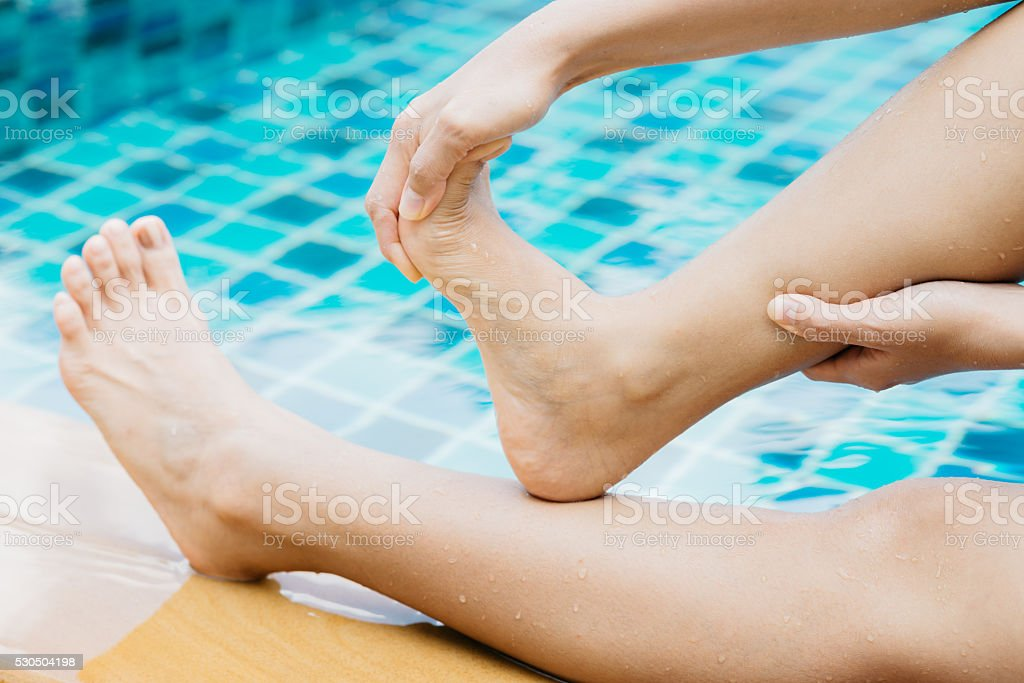 Swimming pool series : Cramp at swimming pool stock photo
