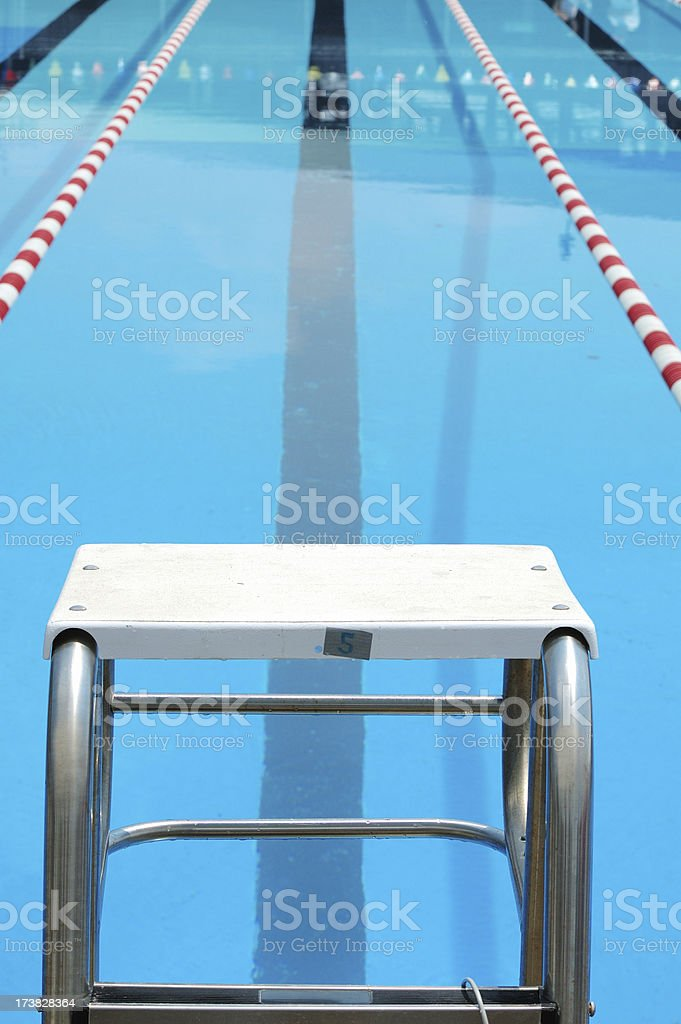 Swimming Pool Start Block stock photo