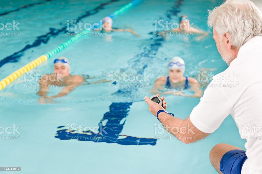 Swimming pool - swimmer training competition stock photo