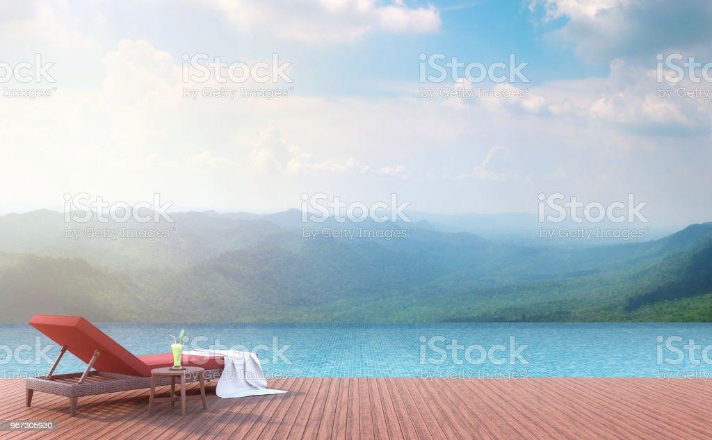 Piscina terraza con vista a la montaña 3d render. - foto de stock