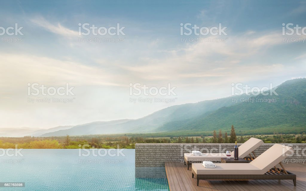 Swimming pool terrace with mountain view 3d rendering image stock photo