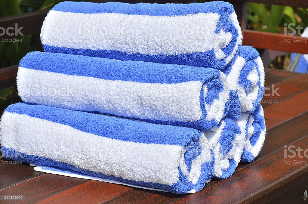 Swimming Pool Towels Roll Neatly Stock Photo - Download ...