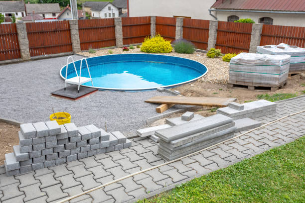 Swimming pool under construction stock photo