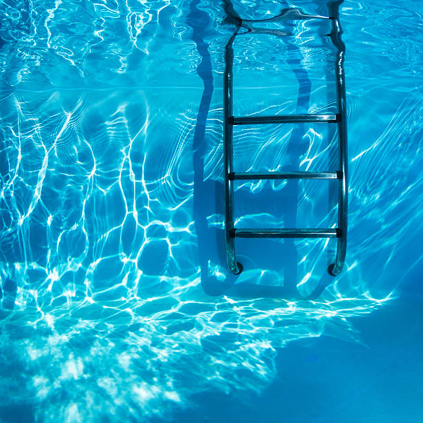 Swimmingpool Underwater Swimmingpool Ladders Underwater in a clear freshwater. at the bottom of stock pictures, royalty-free photos & images