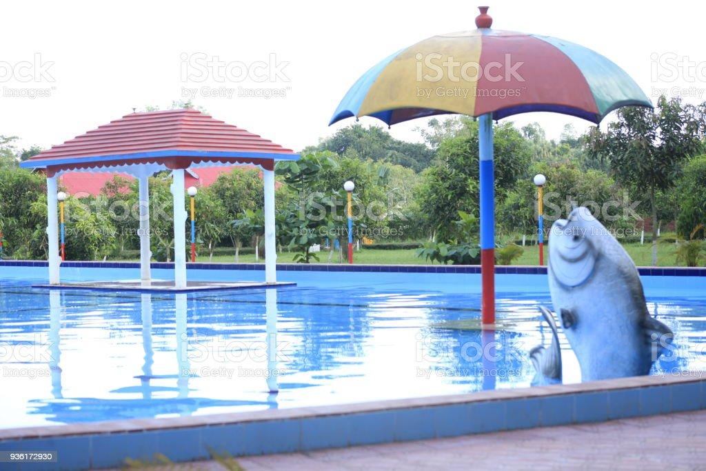 Swimming Pool Water House Umbrella Fish Nature Hd Photo Stock Photo ...