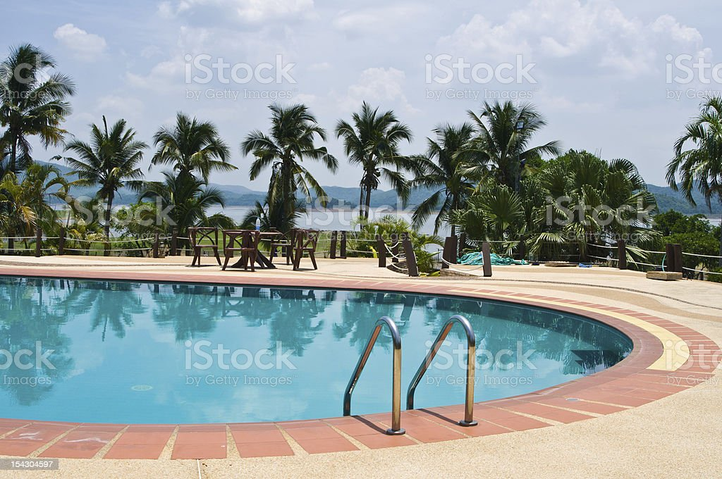 Swimming pool with garden royalty-free stock photo