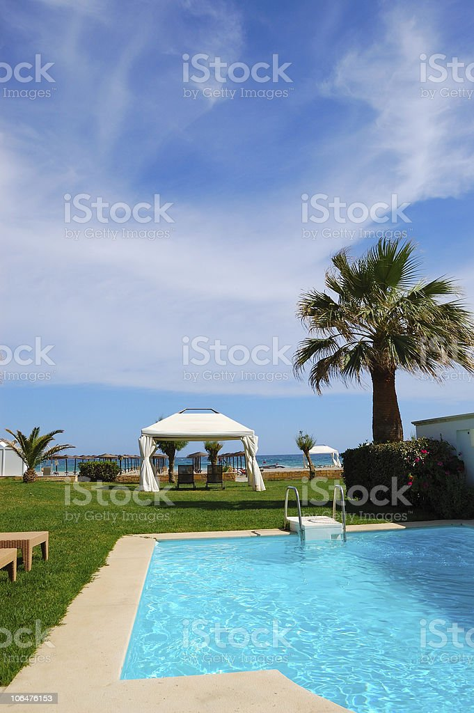 Swimming pool with jacuzzi, Crete, Greece royalty-free stock photo