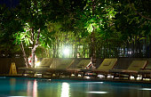 swimming pool with light in night scene