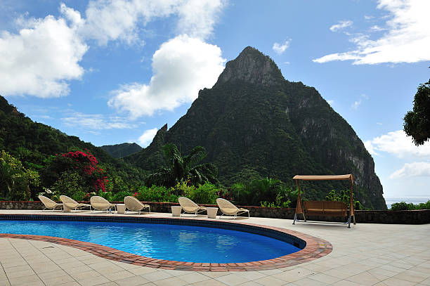 Swimming Pool With Piton View, St Lucia stock photo