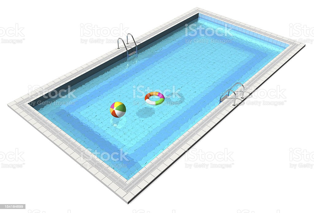 Swimming pool with pool toys on white background stock photo