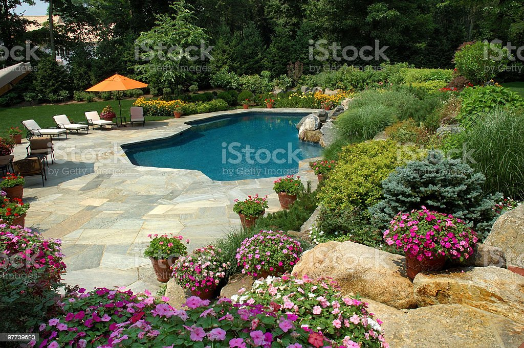 Delightful Swimming Pool With Pretty Gardens Royalty Free Stock Photo