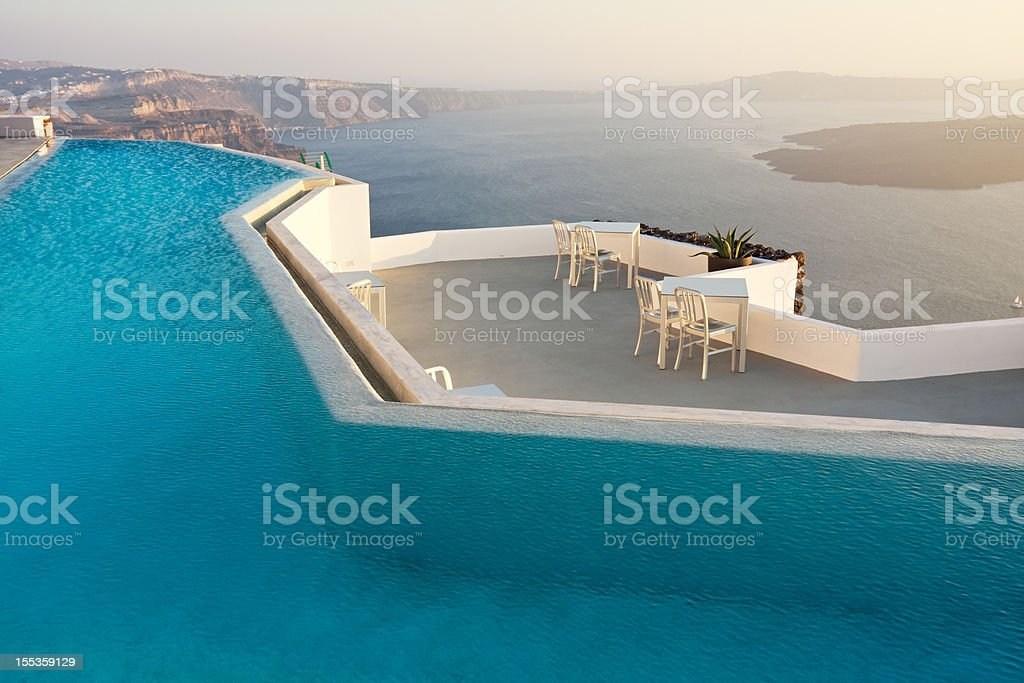 Swimming pool with sea view, Santorini, Greece royalty-free stock photo