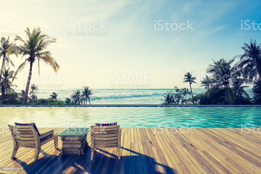 Swimming Pool with  the sea stock photo