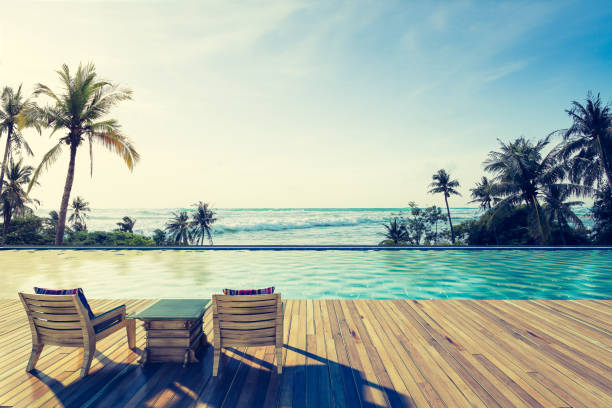 Swimming Pool with  the sea Beautiful view of Swimming Pool with  the sea at sunlight ,Vintage Tone - 3d rendering infinity pool stock pictures, royalty-free photos & images