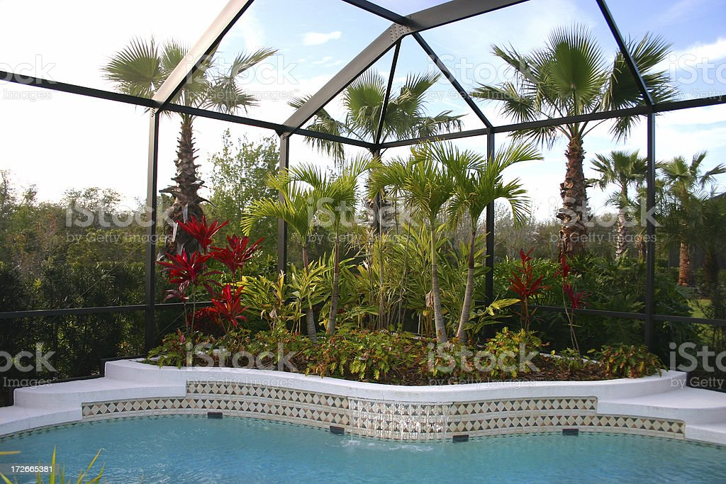 Swimming Pool with Tropical Garden royalty-free stock photo