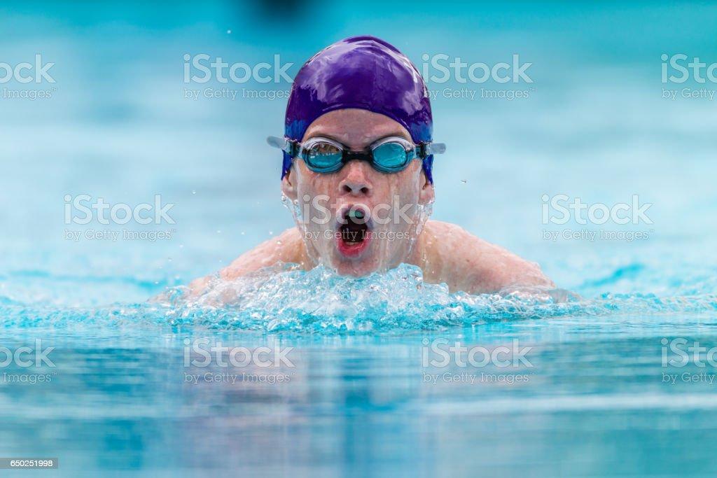 Swimming Race Boy Goggles Cap Head On – Foto