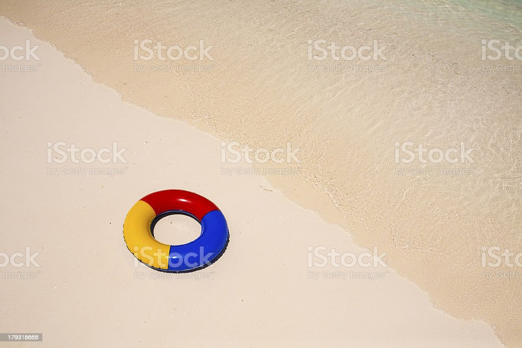 swimming ring athe beach royalty-free stock photo