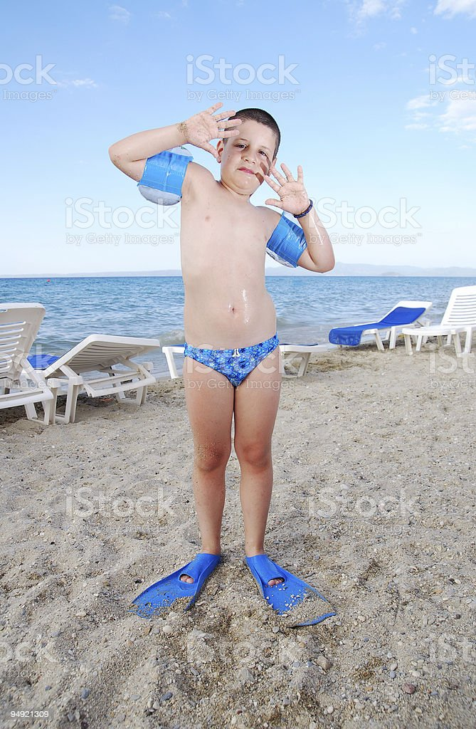 Swimming scare royalty-free stock photo