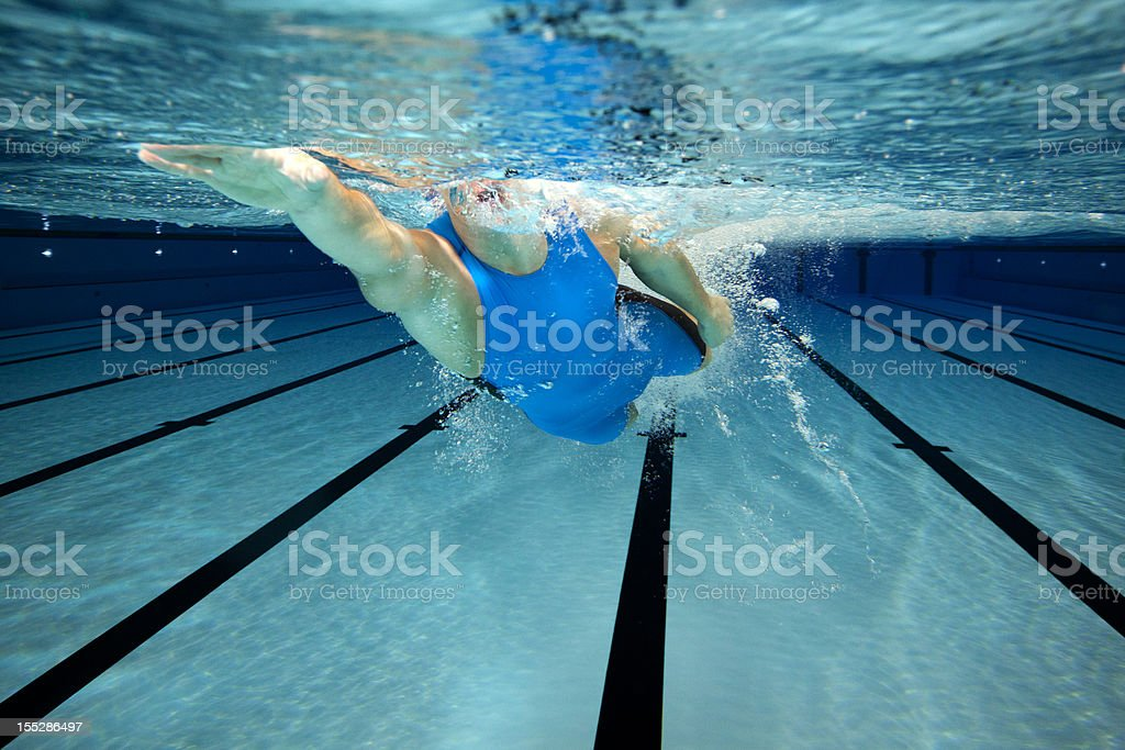 Swimming the crowl style royalty-free stock photo