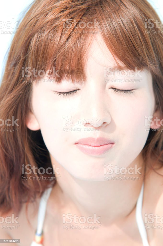 Swimsuit woman with eyes closed royalty-free stock photo