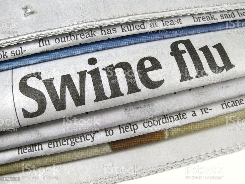 Swine Flu Epidemic Headline stock photo