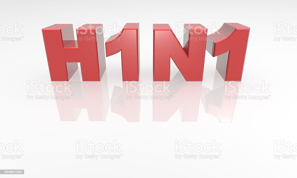 Swine Flu H1N1 Virus - 3d text font red stock photo