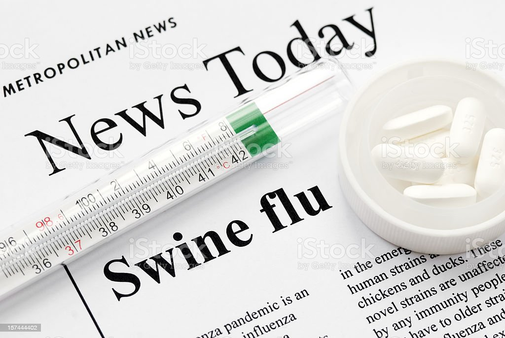 Swine (Influenza A/ H1N1) flu pandemic headlines - V stock photo