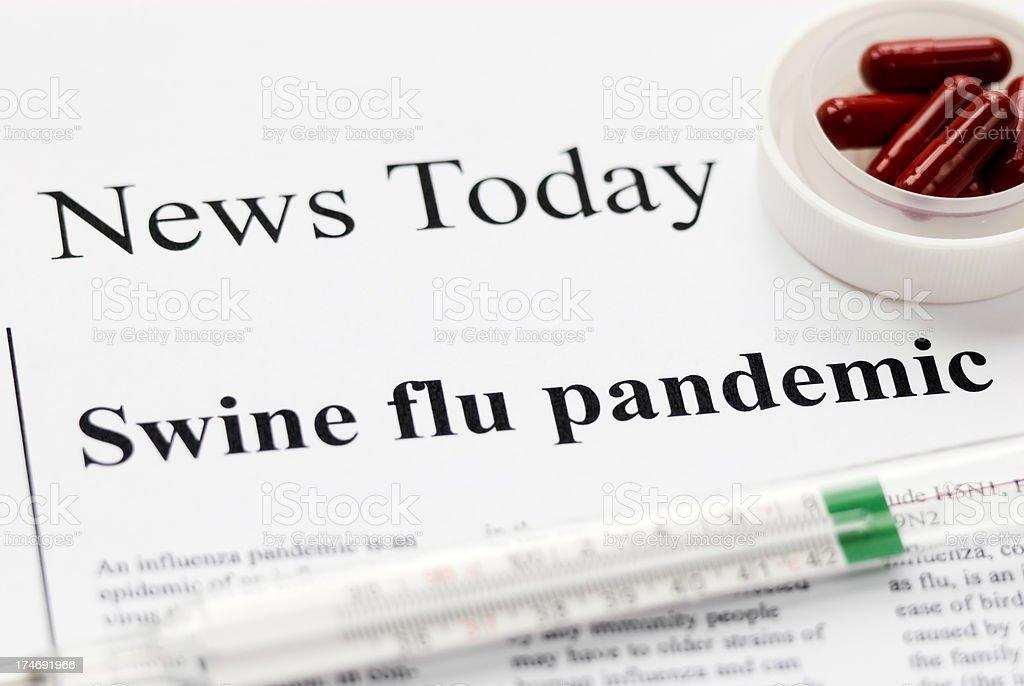 Swine (Influenza A/H1N1) flu pandemic headlines - VIII royalty-free stock photo