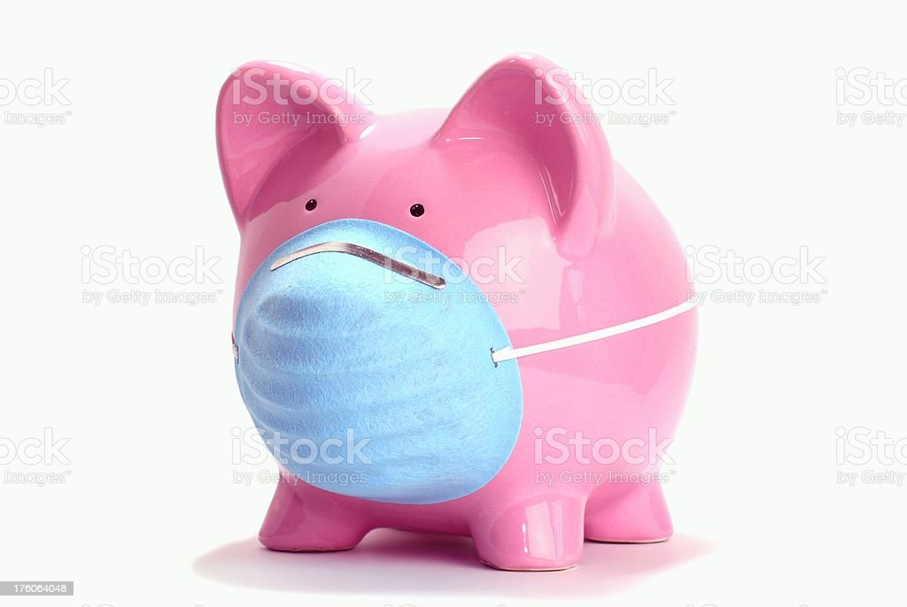 Swine Flu Pig Concept with Mask stock photo