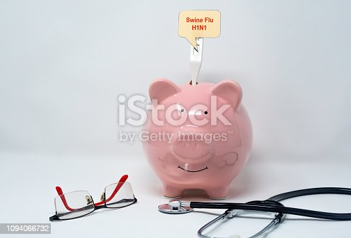 Piggy bank with thermometer and stethoscope with swine influenza concept