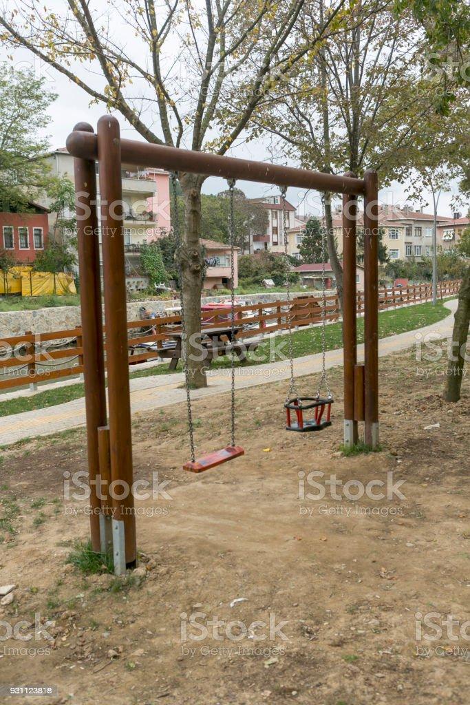 Küçüksu mahalle boğaz Göksu Nehri istanbul Türkiye'nin kamu sağlığı oyun yere, salıncak - Royalty-free Anaokulu Stok görsel