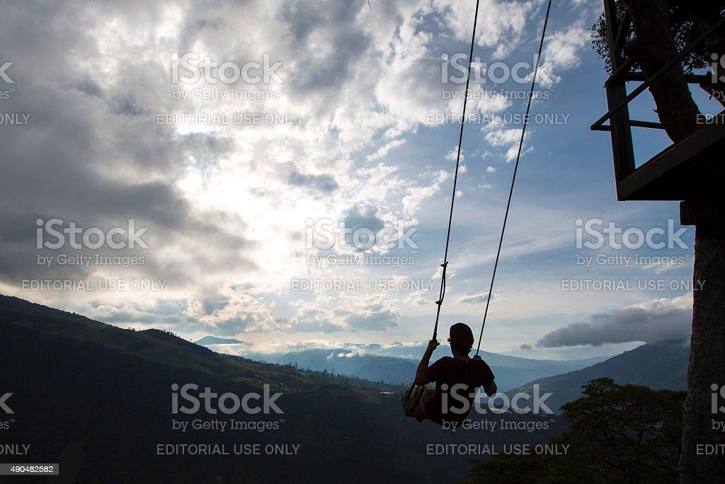 Swing at the Casa del Arbol in Banos, Ecuador stock photo