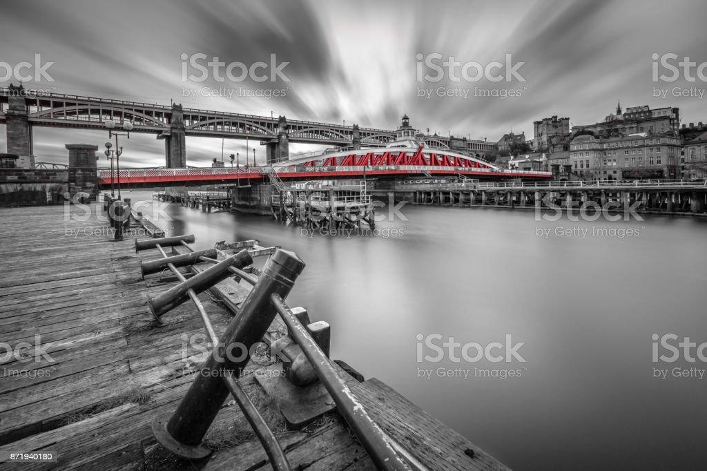Swing bridge, connecting Newcastle upon Tyne and Gateshead, England stock photo