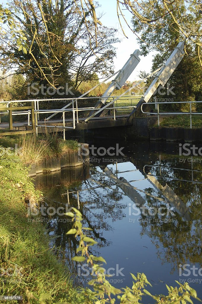 Swing bridge over canal royalty-free stock photo