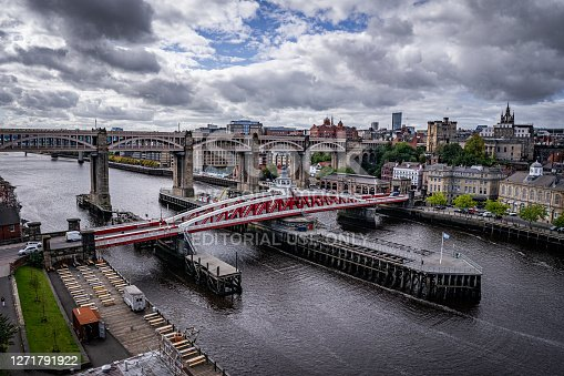 Newcastle upon Tyne, UK. 09/09/20. The Swing Bridge & High Level Bridge over the River Tyne joining Newcastle with Gateshead