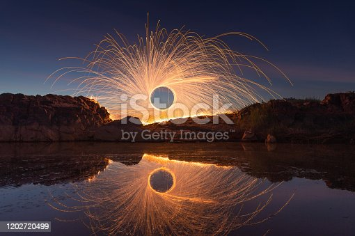 Swing burning steel wool at Sam Pan Bok Sampanbok Ubon Ratchathani Grand Canyon in Thailand, 3000 Boke nature of rock is unseen in Thailand landscape