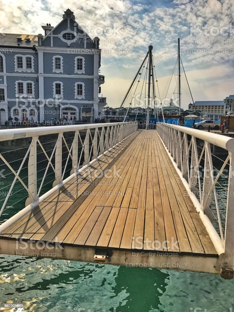 Swing footbridge at the Victoria and Alfred Waterfront in Cape Town,South Africa stock photo