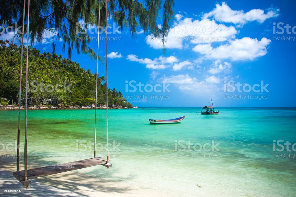 Swing hang from coconut tree over beach, Phangan island ,Thailand stock photo