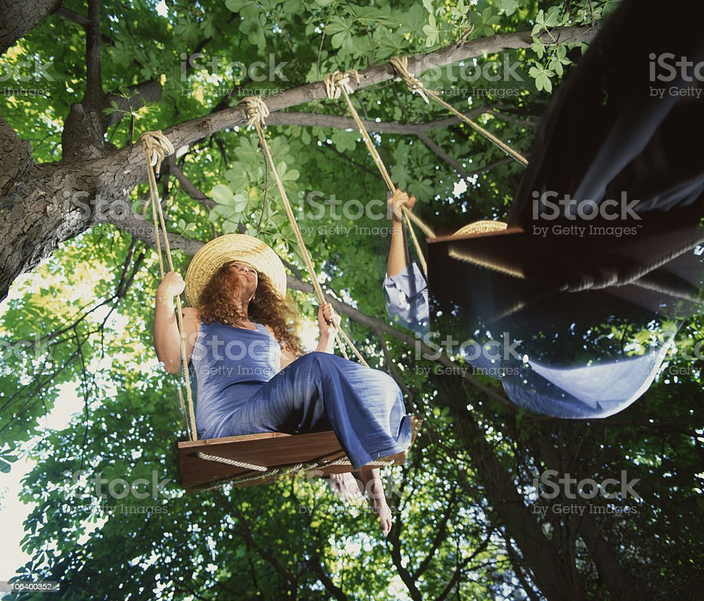 Swing in the greenwood stock photo