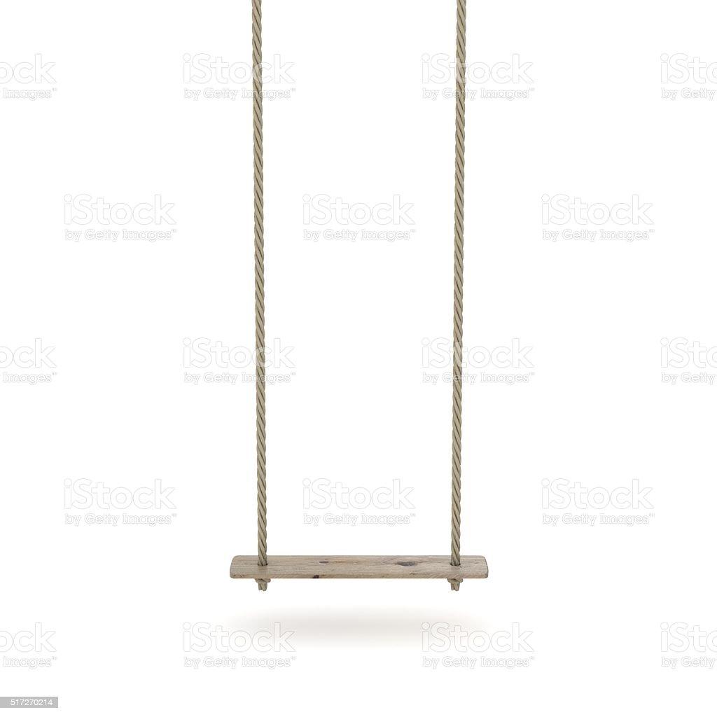 Altalena fatto di corda e un'asse di legno. 3 D - foto stock
