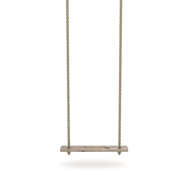 swing made of rope and a wooden plank. 3d - schommelen bungelen stockfoto's en -beelden