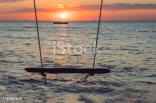 Swing on a tropical beach against the sunset. Wooden swing hanging from a tree on the beach.