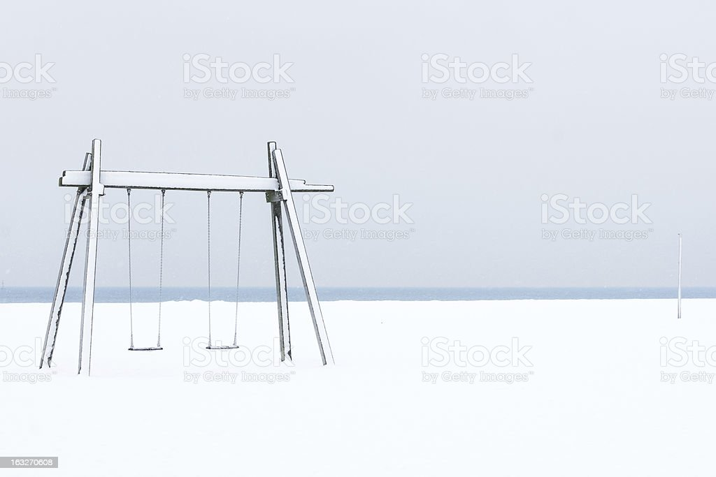 Swing on the beach stock photo