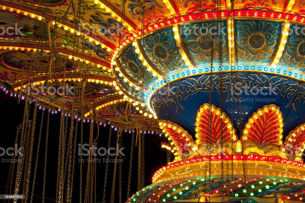 Swing Ride Lights stock photo